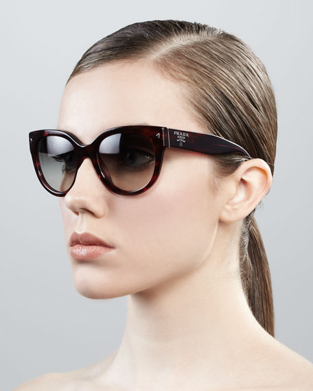 e60c7be17 Prada Cat-Eye Retro Rectangle Sunglasses, Red Havana