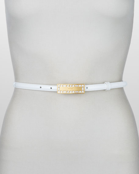 Crystal-Buckle Vernice Belt, Bianco