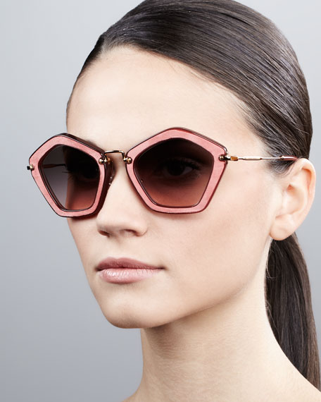 Pentagon Sunglasses, Brown/Pink