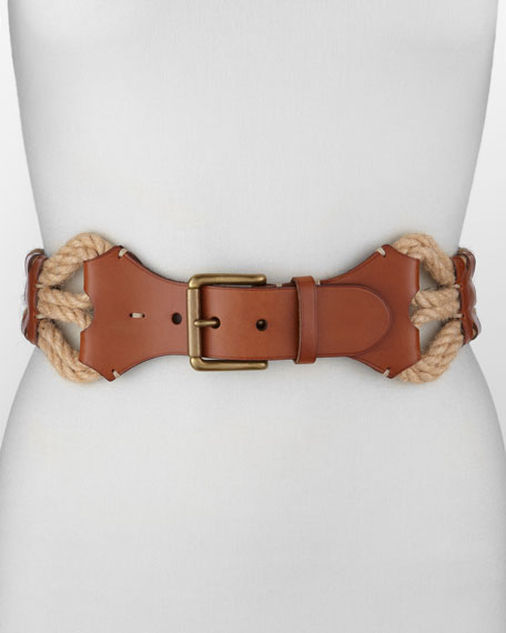 Leather With Woven-Jute Belt, Tan/Natural