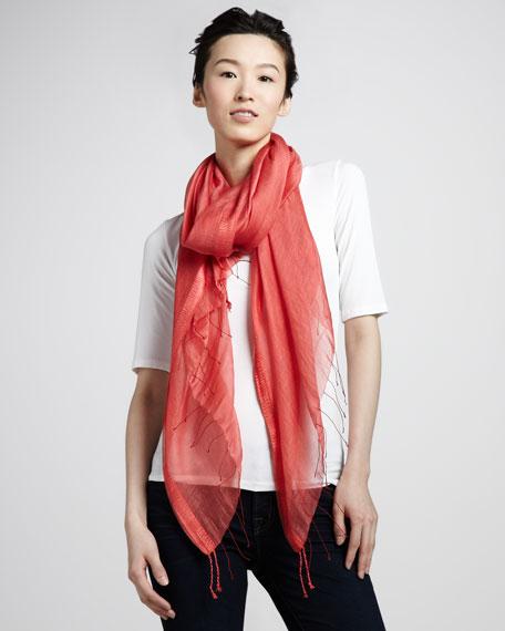 Lightweight Silk/Modal Scarf, Coral