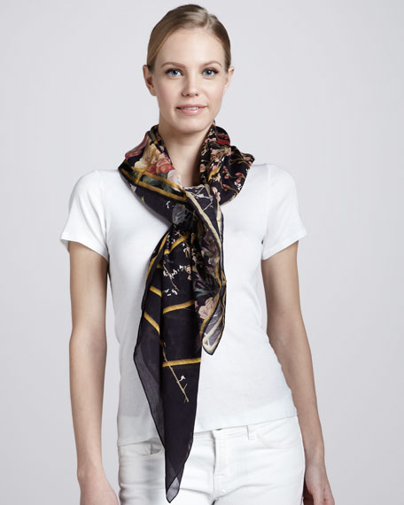 Bird Cage Printed Scarf, Black/Pink