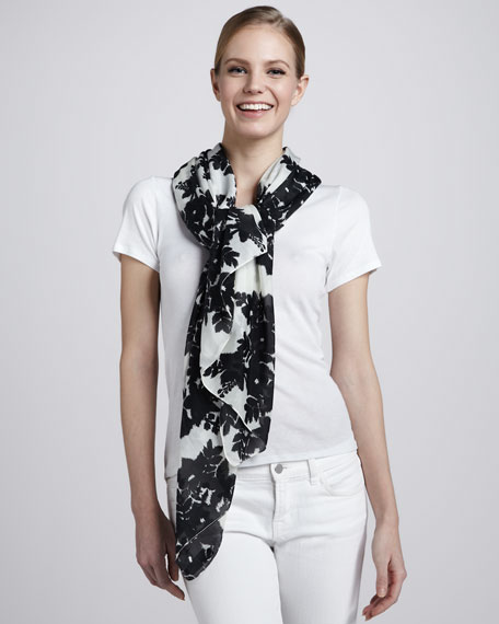 Floral Wallpaper Scarf, Black/Ivory