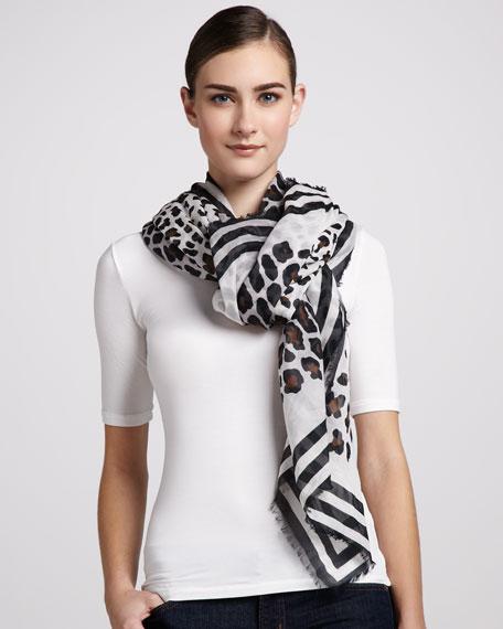 Leopard-Print Cotton Scarf, Cocoa/White/Black