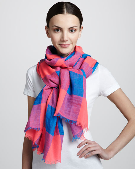 Stacey Gingham Scarf, Blue/Pink