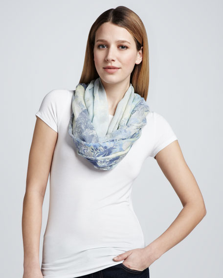 Poitou Long Printed Scarf, Light Blue