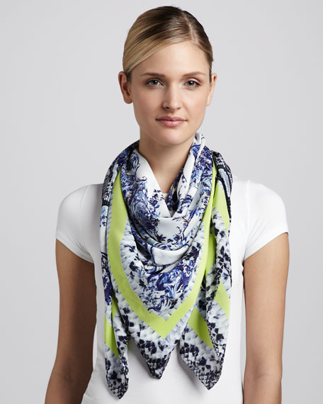 Milandes Snake & Floral Scarf, Blue/Yellow