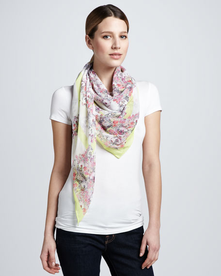 Montfort Printed Silk Scarf, Pink/Yellow