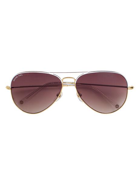1503c2a05a55 MICHAEL Michael Kors Kennedy Plastic Aviator Sunglasses