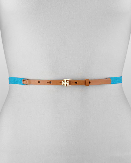Logo Stretch Belt, Turquoise