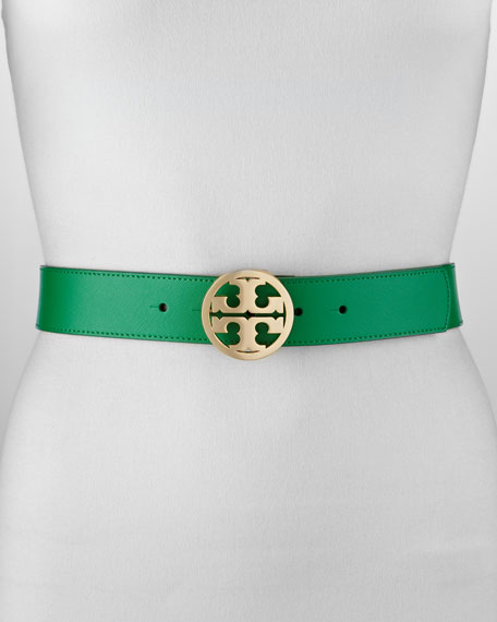 Classic Leather Tory Logo Belt, Emerald
