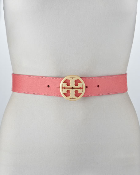 Classic Pebbled Leather Logo Belt, Rose Petal