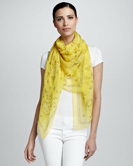Bee Print Chiffon Scarf, Yellow/Light Gray