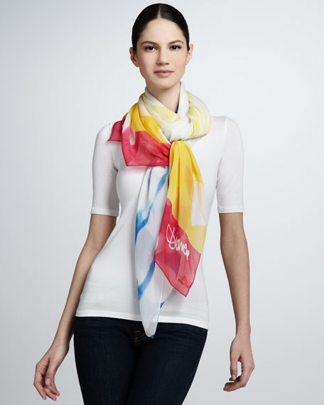 Bleached-Stripe Scarf, Red/Yellow/Blue