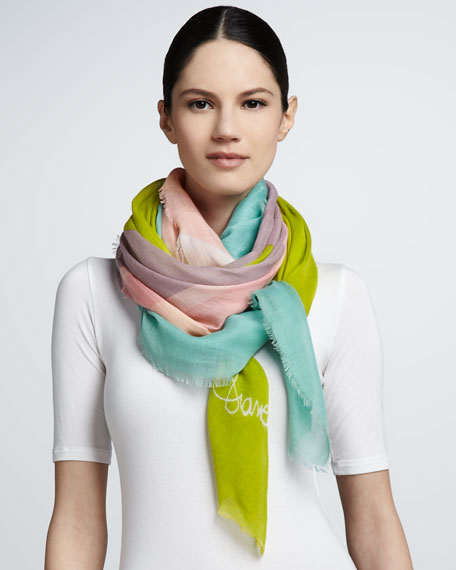 Painted Sunshine Hanover Scarf, Blue/Green/Multicolor