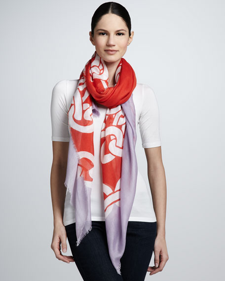 Chain-Print Hanover Scarf, Lavender/Red/White