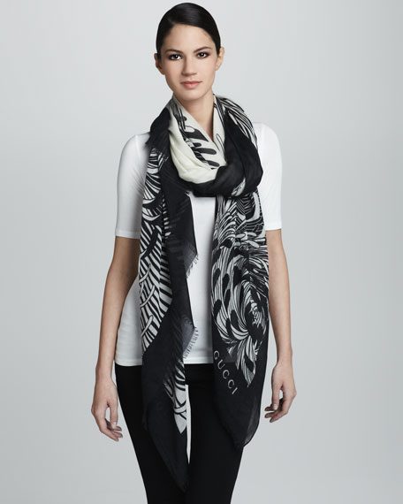 Agamy Floral Oversize Scarf, White/Black