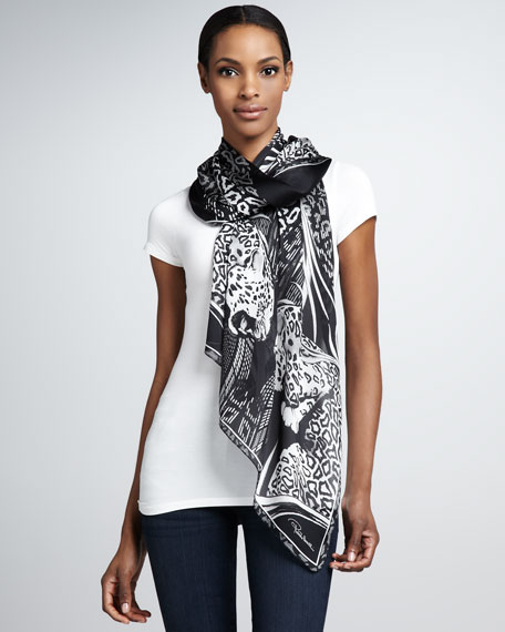 Manhattan Jaguar-Print Scarf, Black/White