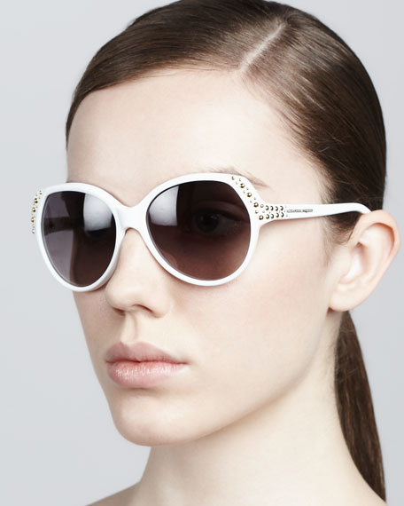 Studded Sunglasses, White