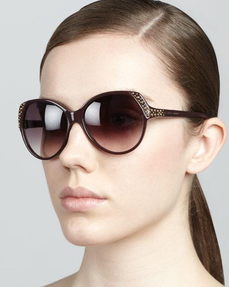 Studded Sunglasses, Burgundy