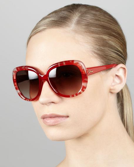 Floral Tie-Dye Plastic Sunglasses