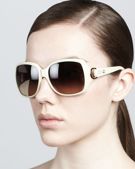 Rounded-Square Sunglasses, Ivory