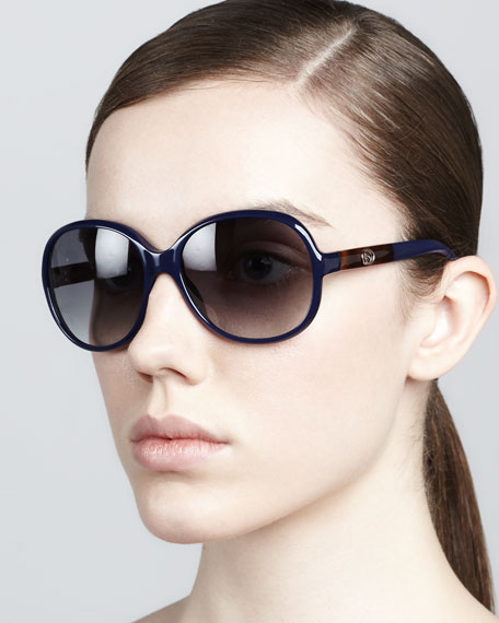 Circular Sunglasses, Blue/Gray