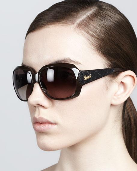 Logo-Arm Sunglasses, Brown