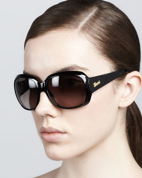 Logo-Arm Sunglasses, Shiny Black