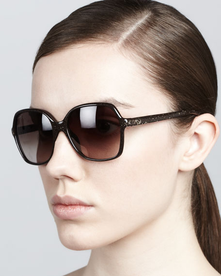 Glitter-Frame Sunglasses, Brown