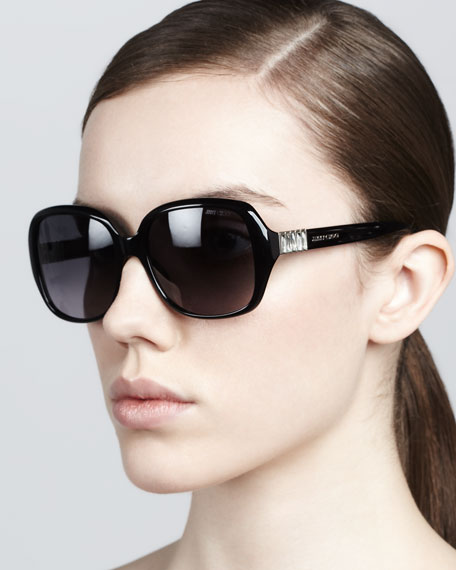 Lia Rounded-Square Sunglasses, Black