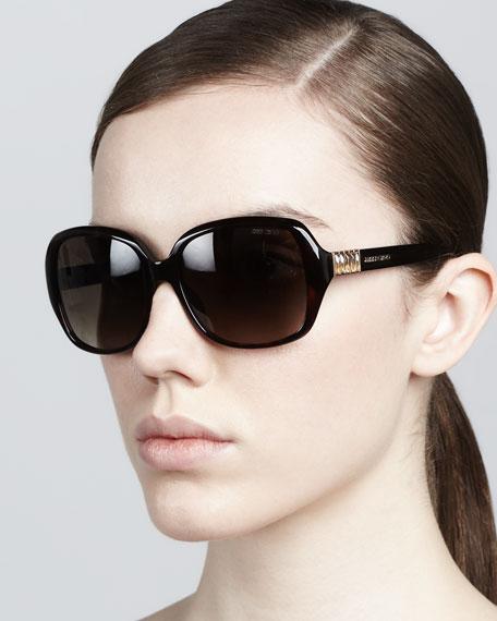 Lia Rounded-Square Sunglasses, Havana