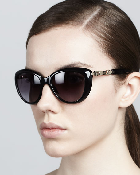 Wigmore Cat-Eye Chain-Arm Sunglasses, Shiny Black