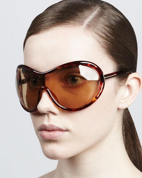 Grant Oversized Shield Sunglasses, Shiny Havana