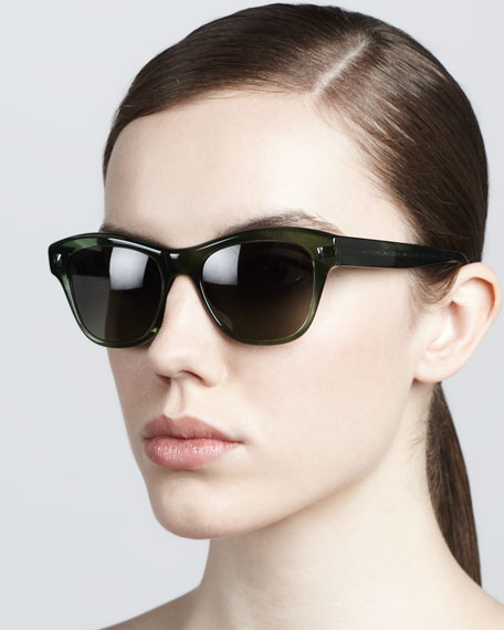 Sofee Rounded Sunglasses, Green