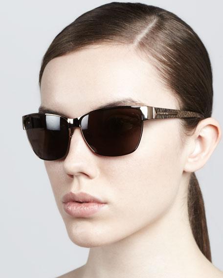 Metal Rectangular Sunglasses, Bronze