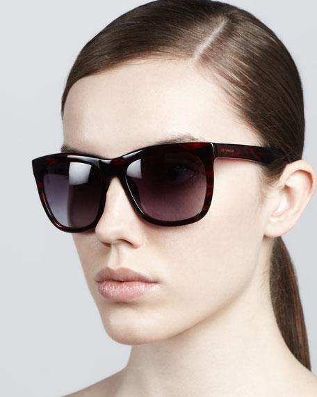 Squared Cat-Eye Sunglasses, Burgundy