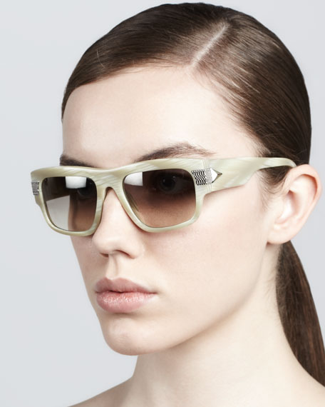 Modified Rounded Rectangular Sunglasses, Taupe