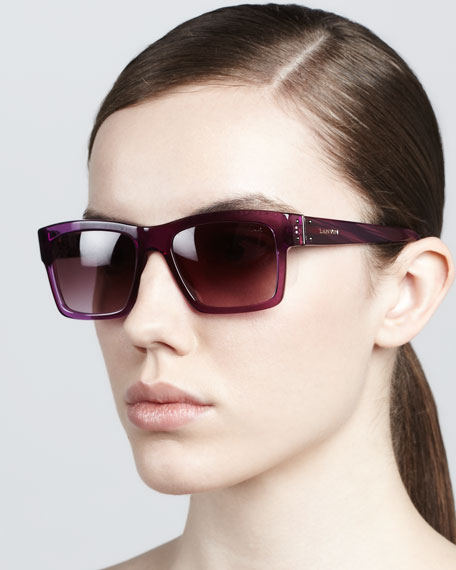 Square Plastic Sunglasses, Purple