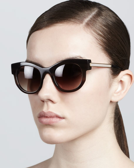 Barely Modified Round Sunglasses, Light Brown
