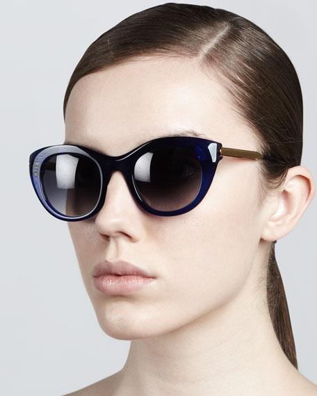 Poetry Soft Cat-Eye Sunglasses, Navy