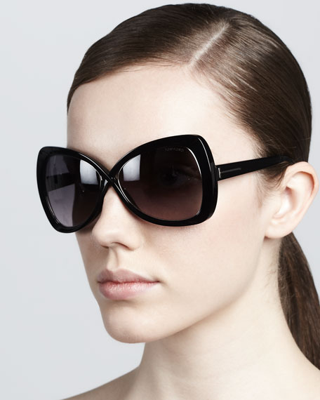 Jade Cross-Bridge Sunglasses, Black