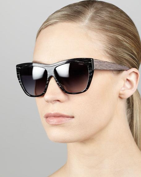 Striped Enamel Sunglasses, Black