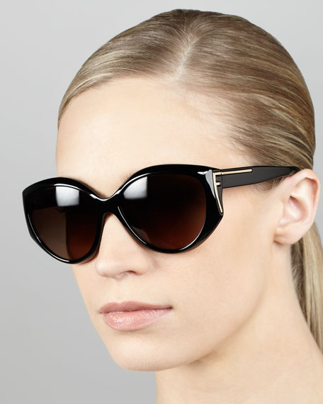 Sleek Logo-Temple Sunglasses, Black