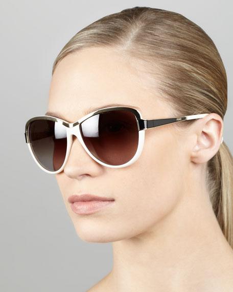 Two-Tone Sunglasses, Cream/Black