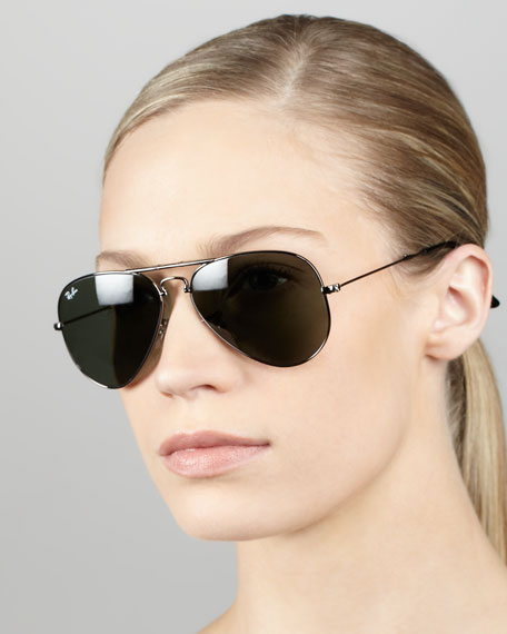 Aviator Sunglasses, Gunmetal/Green