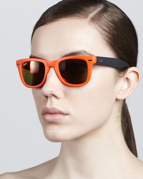 Folding Wayfarer Sunglasses, Orange/Brown