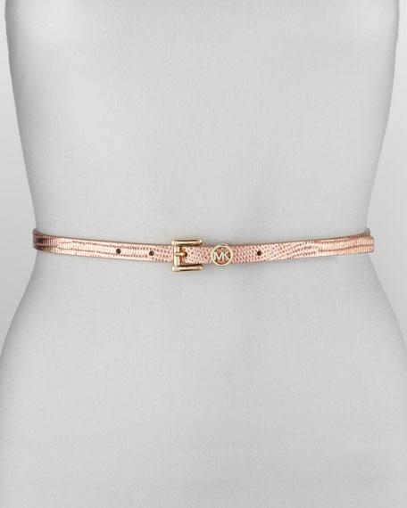 Lizard-Print Leather Belt