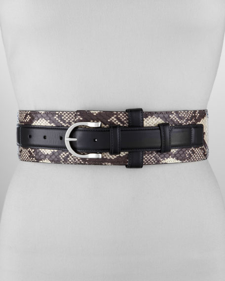 Wide Snakeskin Leather-Strap Belt, Black