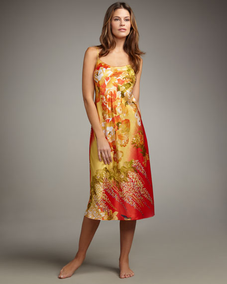 """Fuji Floral-Print Charmeuse Gown, 46"""""""